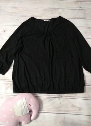 Удобная  хлопковая футболка от bonprix с длинным рукавом, внизу на резинке, размер 24/26