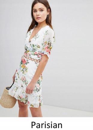 Parisian чарівна сукня в квіти з ажурними вставками