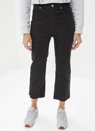 Новые вельветовые укороченные штаны, высокая посадка 38 р