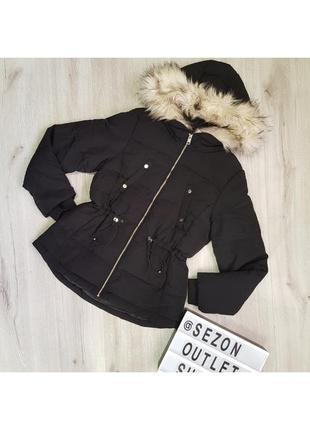 Черная утепленная куртка h&m 42.l,куртка hm