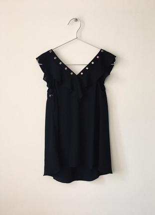 Новая черная блузка с оборками и декольте на шнуровке asos lipsy london маленький размер9 фото