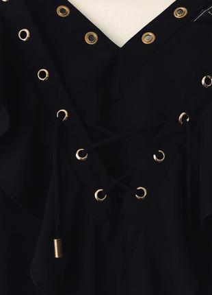 Новая черная блузка с оборками и декольте на шнуровке asos lipsy london маленький размер7 фото
