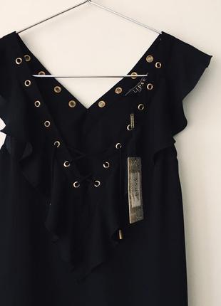 Новая черная блузка с оборками и декольте на шнуровке asos lipsy london маленький размер6 фото