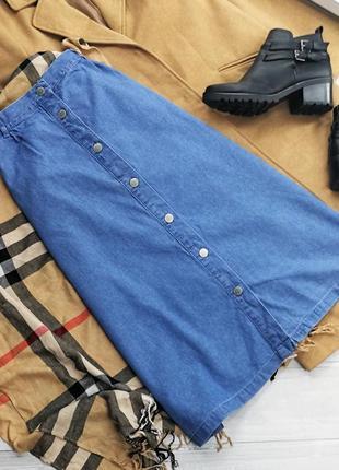 Голубая джинсовая миди за пуговицах в174437 damart размер m юбка