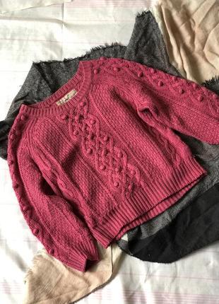 Зимний свитер вязка светр розовый