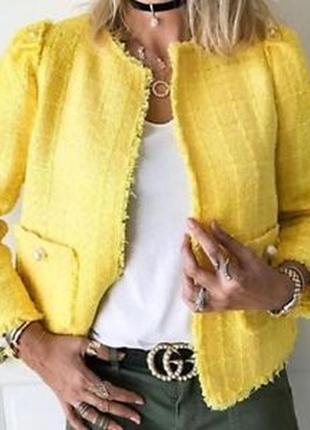 Яркий твидовый жакет пиджак блейзер с жемчужными пуговицами от zara размер m/10/38.