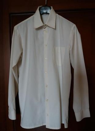 Рубашка сорочка бежевая хлопок в отличном состоянии