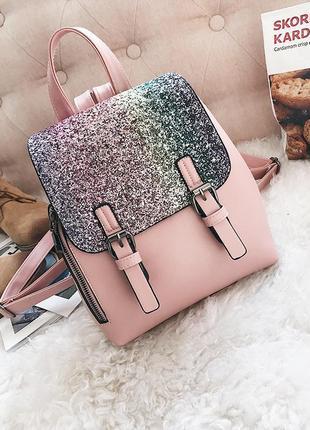 Милый розовый рюкзак с блестками, блестящий рюкзак