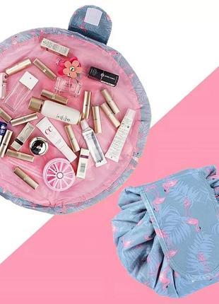 Круглая косметичка, косметичка с фламинго