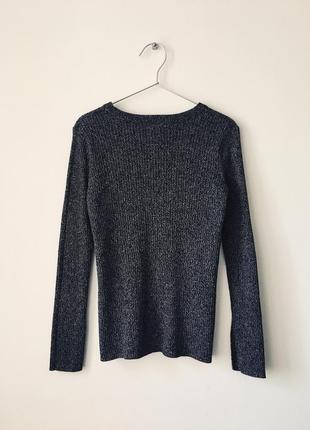 Хлопковый свитер в рубчик темно-серого цвета меланж h&m черный джемпер с разрезами9 фото