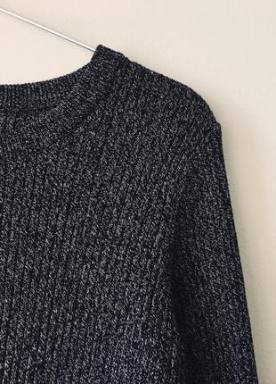 Хлопковый свитер в рубчик темно-серого цвета меланж h&m черный джемпер с разрезами6 фото
