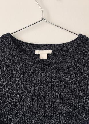 Хлопковый свитер в рубчик темно-серого цвета меланж h&m черный джемпер с разрезами8 фото