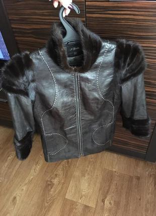 Кожаная куртка с норковым мехом2