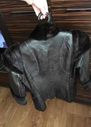 Кожаная куртка с норковым мехом3