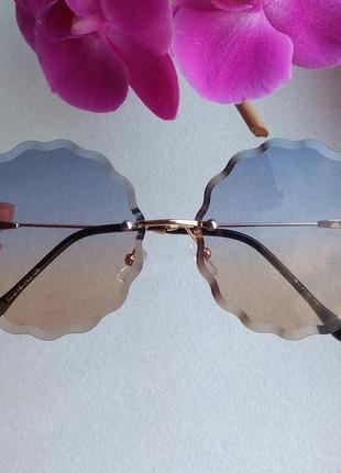Новые модные очки хрусталики, сине-бежевые