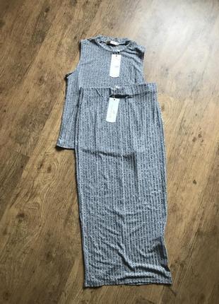 Новый комплект футболки и юбки миди