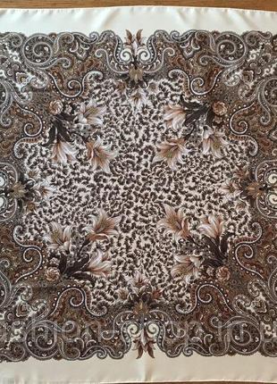Павлопосадский шерстяной платок осенний цветок