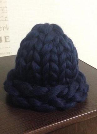 Теплая новая шапка , крупная вязка, меринос