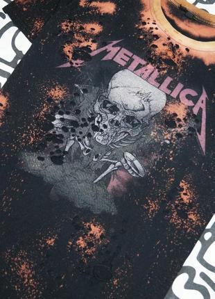 Эксклюзивная футболка ручной работы с принтом группы metallica