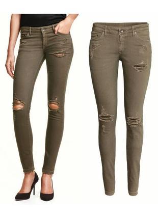 Рваные джинсы скинни цвет хаки размеры 29,31,33