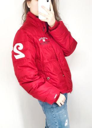 Красная пуховая дутая куртка / короткий пуховик mc gregor
