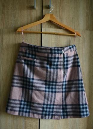 Шикарная юбка-трапеция в клетку на холодное время года