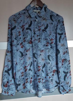 Натуральная блуза рубашка цветочный принт next