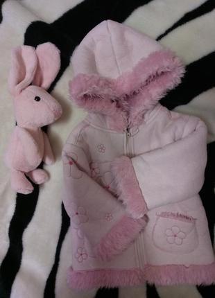 Нежно розовая куртка дубленка на девочку 2-3 года