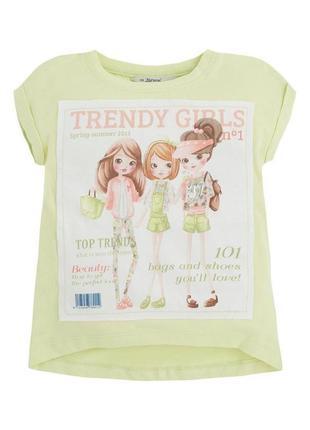 Новая салатовая футболка с аппликацией для девочки, mayoral, 3023