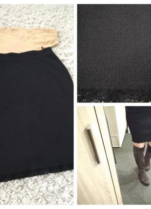 Актуальная вязаная юбка миди,черная, р. 36-40