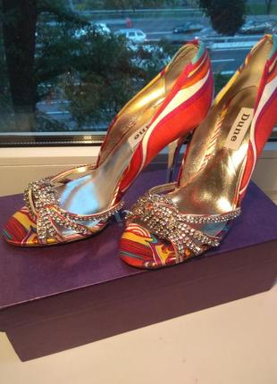 36р/23.5 роскошные,нарядные брендовые туфли половинки с кристаллами,босоножки.