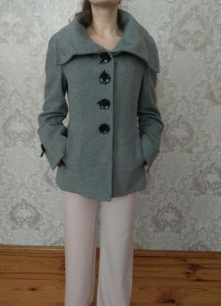 Серое тёплое пальто | пальтишко миди с воротником