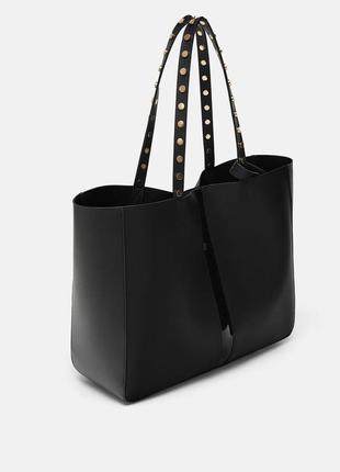 Большая сумка шоппер zara с виниловыми деталями