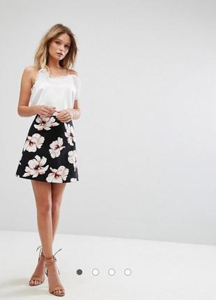 Черная юбка в цветочный принт river island