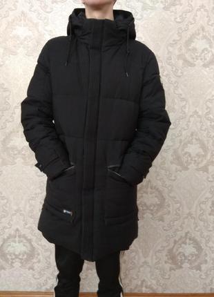Мужской пуховик| курточка | пальто тёплый с капюшоном удлиненный
