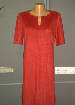 Платье из эко замши papaya трендового красного оттенка1 фото