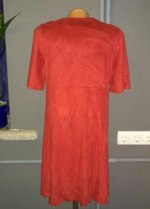 Платье из эко замши papaya трендового красного оттенка3 фото