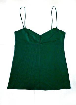 Распродажа 👉шикарная майка/блуза/топ в бельевом стиле/изумрудная/на шлейках