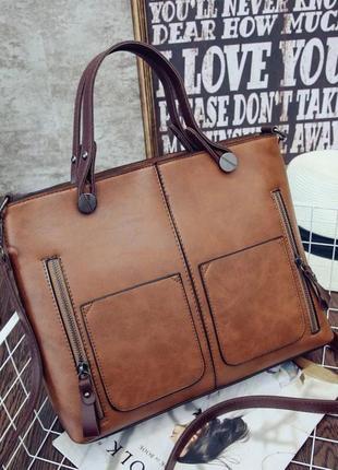 cbbe034c1636 Женская сумка большая шоппер коричневая жіноча кожаная, цена - 470 ...