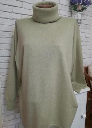 Длинный итальянский кашемировый свитер с высокой горловиной,разрезами по бокам,р.xxl1 фото