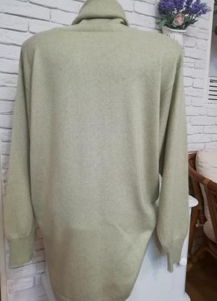 Длинный итальянский кашемировый свитер с высокой горловиной,разрезами по бокам,р.xxl3 фото