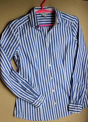 Хлопковая рубашка в модную полоску с/м.