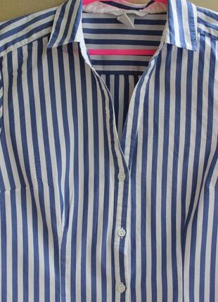 Хлопковая рубашка в модную полоску с/м.2 фото