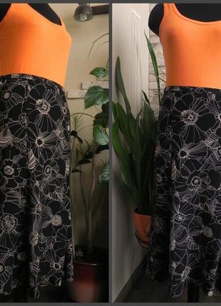 Летняя юбка a-силуэта с цветочным принтом из вискозы  от marks & spencer 52р.