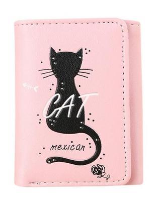 Новый розовый короткий кошелек бумажник кот котик pu кожа