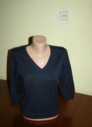 Синий элегантный классический шерстяной пуловер от marks & spencer