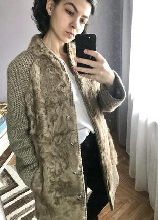 Кашемировое пальто шуба дубленка с натуральным мехом качественное шерстяное с наполнителем
