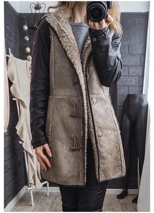 Стильное пальто дубленка под натуралку экозамш кожзам на меху капюшон отстегивается