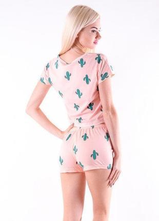 Пижама с кактусами коттоновая женская