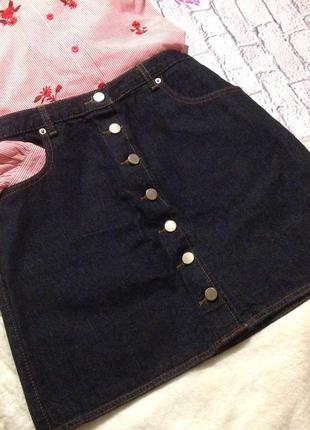 Asos стильная джинсовая юбка трапеция на пуговицах